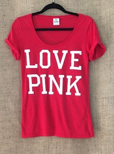 "Victoria's Secret PINK ""LOVE PINK"" T-Shirt, Rolled Sleeves, Scoop Neck, Red, M #VictoriasSecret #GraphicTee"