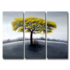 Tree in Solitude Large 3-piece Oil Canvas Painting - Overstock™ Shopping - Top Rated DESIGN ART Canvas