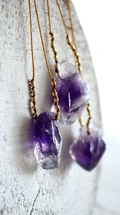 Amethyst nugget necklace, purple stone necklace, mineral necklace, organic…
