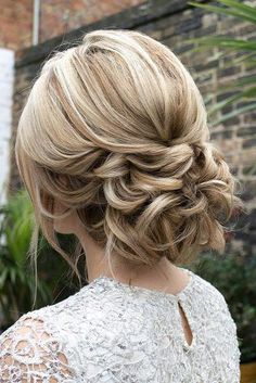 romantic bridal updos wedding textured low updo hair and makeup by steph #weddinghairstyles