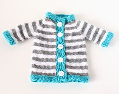 Stripey Baby Sweater Pattern | This baby sweater knitting pattern is striped, easy, and adorable.