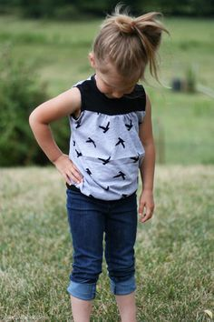 Hopscotch Top | Radiant Home Studio - made with jersey knit, scoop neck modification, and waistband. Sewing for kids. Kids clothes.
