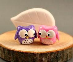 Tree Slice Business Card Holder - Little Owls In Purple And Pink - Miniature Polymer Clay Animal
