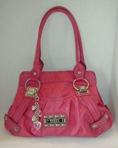 KATHY VAN ZEELAND HANDBAG Purse BAG PINK Faux Leather Hobo Slouchy Silver  CHARMS 8304b5393ed86