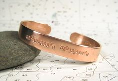 Custom Latitude Longitude Cuff 10mm Copper by ElizabethPriorDesign