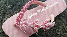 Trama de pérolas rosa para chinelo  Gleicy Kelly Barbosa