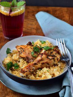 Pečená kuřecí stehna na rýži Lidl, Risotto, Meat, Chicken, Cooking, Ethnic Recipes, Food, Koken, Kitchen