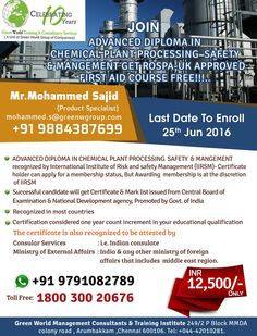GWG offering diploma in chemical plant processing @ affordable cost. http://greenwgroup.co.in/advanced-diploma-in-chemical-plan…/ #diplomainchemicalplantprocessing