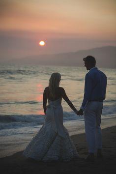 Bride and Groom Beach Wedding Portrait at Sunset - Beach Weddings at The Sunset Restaurant - Malibu, California - Photography: www.tonygambinophoto.com