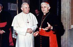 El beato Juan Pablo II con Joseph Ratzinger