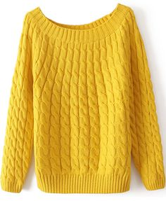 Yellow Long Sleeve Loose Cable Knit Sweater 13.33