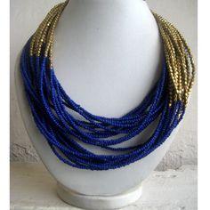 Handmade Jewelry/Beaded Necklace/Bib Necklace/Statement Necklace/Gold Necklace/Multi Strand Necklace/Blue Necklace/Beaded Jewelry