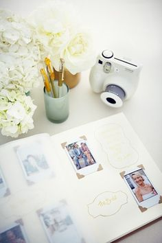 Snap Happy - Make your guest book an interactive and fun affair using stencils and polaroids.. SUPER CUTE IDEA!!!