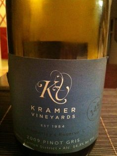 Kramer Vineyards 2010 Pinot Blanc - I got this one (it has a white label and is a pinot blanc) because I was wanting a pinot gris and this seemed close. It's a smooth dry wine, spicy top note followed by a mild fruity/grapefruity flavor. It tastes very clear. Would go well with summer foods. ~$18 Pinot Blanc, Pinot Gris, Wine Ratings, Wine And Liquor, Summer Recipes, Vineyard, Spicy, Label, Smooth