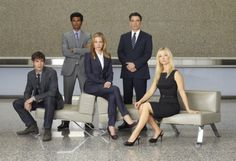 COVERT AFFAIRS -- Season:1 -- Pictured: (L-R) Christopher Gorham as Auggie Anderson, Sendhil Ramamurthy as Jai Wilcox, , Piper Perabo as Annie Walker, Peter Gallagher as Authur Campbell, Kari Matchett as Joan Campbell -- Photo by: Robert Ascroft/USA  I like this one