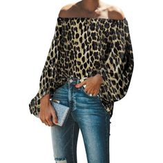 Off Shoulder Shirt, Off Shoulder Tops, Loose Shirts, Sexy Shirts, Casual Shirts, Leopard Print Top, Active Wear For Women, Blouses For Women, Long Sleeve Tops