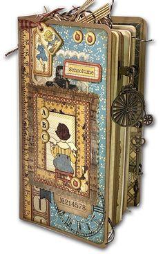 Mini Scrapbook Albums, Diy Scrapbook, Mini Albums, Journal Covers, Book Journal, Art Journals, Handmade Journals, Handmade Books, Graphic 45