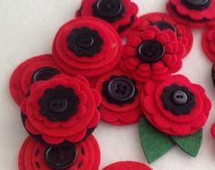 Red POPPY x3 Handmade Layered Felt Flower by MagentaGingerCrafts