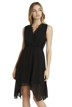 Bcbg black surplice lace dress