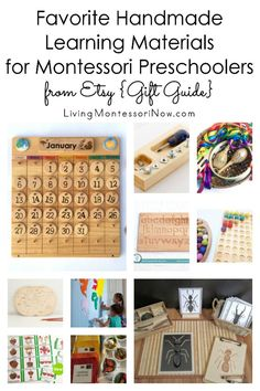 Gift guide with beautiful handmade learning materials for preschoolers from Etsy; Montessori-inspired materials that work perfectly for classroom or home - Living Montessori Now #Montessori #homeschool #preschool #giftguide #Etsy