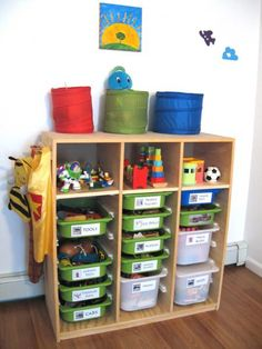 Great way to keep a playroom organized and teach kids to stay organized!