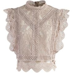 Chicwish Your Sassy Start Sleeveless Crochet Lace Top in Light Tan