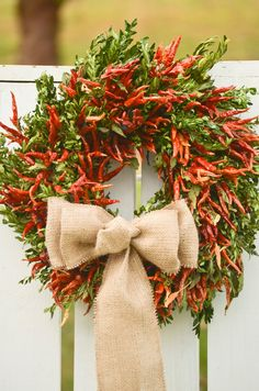 Chili Pepper Wreath, kitchen wreath, holiday wreath, fall wreath, rustic wreath, primitive wreath on Etsy, $64.95