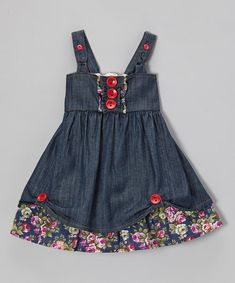 Pretty tulips will feel right at home in the sweet floral wonderland of this denim babydoll dress. Featuring adjustable straps, decorative buttons and ruffle embellishments, this piece is the perfect cozy garden for cuties to bloom in. 100% cottonMachine washImported