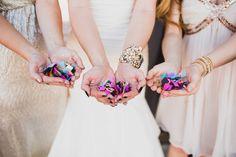 A Rambling Fancy | wedding bridal party, confetti photo op, oklahoma wedding