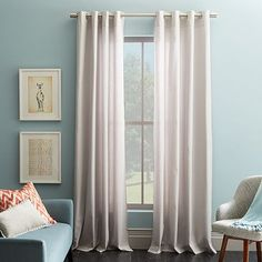 """Cotton Canvas Grommet Curtain - Frost Gray. Love just a hint of gray. $49 for 96"""" single panel, $59 for 108"""" single panel."""