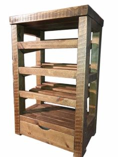 Solid rustic wooden shoe rack with drawer at the bottom
