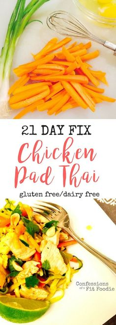 21 Day Fix Chicken Pad Thai Zoodles - Low Carb, Gluten Free, and SO DELISH! Better than take out!