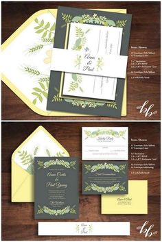 25 of the most amazing Botanical Green Wedding Invitations: weet Flora Botanical Wedding Invites. Set out in yellow and gray with darling leaf bouquets, this invitation suite from Beautifully Bevilled is perfect for a rustic or forest celebration . http://www.confettidaydreams.com/botanical-wedding-invitations/