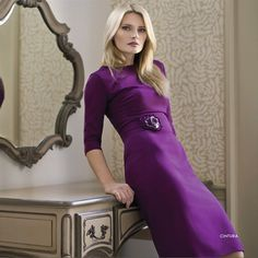 Luxurious quality work dresses for business women at PinstripeandPearls.com - this is the Purple Cintura work dress, a classic shift dress with stunning belt detailing http://www.pinstripeandpearls.com/product/manifattura-donna-cintura-dress-with-belt
