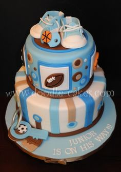 Sports Themed Baby shower.  By natskys on CakeCentral.com