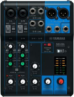 6-channel Analog Mixer with 2 Microphone Preamps, 2 Dedicated Stereo Line Channels, and EQ