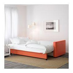 IKEA - FRIHETEN, 3-sits bäddsoffa, Skiftebo mörkorange, , Bäddas enkelt ut till en säng.Stort, praktiskt förvaringsutrymme under sitsen.