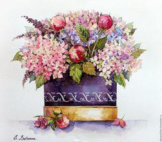Купить Букет гортензии в шляпной коробке - бледно-розовый, цветы, цветы ручной работы, акварель