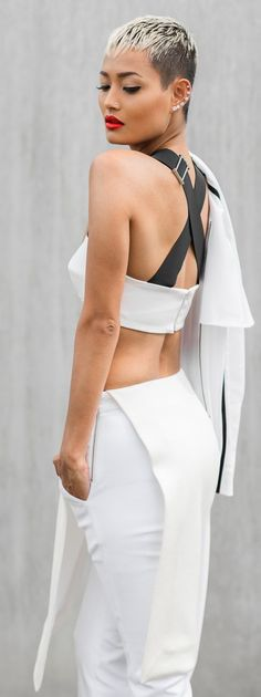 Black And White Criss Cross Strap Back Bralette by Micah Gianneli