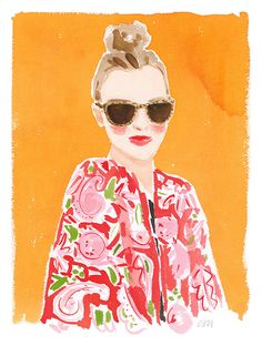 "Top knot and Caftan // Caitlin McGauley, watercolor, 27""x35"" unframed, $540"