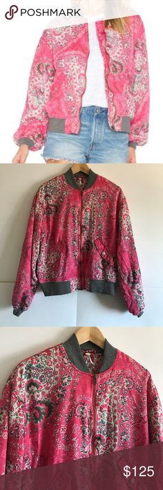 FREE PEOPLE Gorgeous Floral Bomber Jacket XS In great condition!! Free People Jackets & Coats