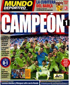 PORTADA DIARIO EL MUNDO DEPORTIVO. El Barça campeón de liga. 18.05.15