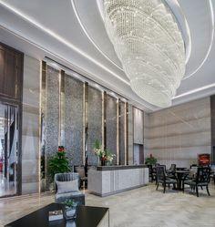 The reception hall 接待大堂 Western Restaurant, Chinese Restaurant, Luxury Chandelier, Chandeliers, Restaurant Lighting, Large Lamps, Lobby Design, Custom Lighting, Model Homes