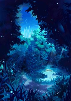 Here is a lovely blue anime wallpaper. Fantasy Art Landscapes, Fantasy Landscape, Fantasy Artwork, Landscape Art, Anime Kunst, Anime Art, Blue Anime, Night Forest, Fantasy Places