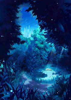 Here is a lovely blue anime wallpaper. Fantasy Art Landscapes, Fantasy Landscape, Fantasy Artwork, Landscape Art, Fantasy Places, Fantasy World, Anime Kunst, Anime Art, Blue Anime