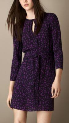 Burberry GEOMETRIC PRINT CREPE DRESS