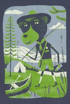 this illustration is beary awesome. and he's fishing! Air B And B, Online Collections, Model Photos, Travel Usa, Letterpress, American Apparel, Ranger, Illustration Art