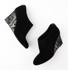 [Erynn Wedge Booties - LOFT] I've been looking for some black suede heels, wedges, or booties; these could be a fun option.