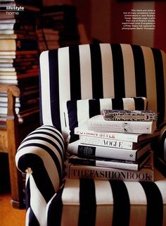 I'm a sucker for any black and white fabric. And if I stack books on anything, Jim's game.