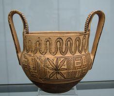 Kantharos, griechische Vasenmalerei der geometrischen Periode (um 780 v. Chr.)